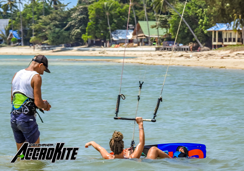 Accroccite Kiteboarding Student with Instructor